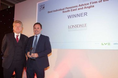 Richard Porter, Director & Independent Financial Adviser receiving the Best Pensions Advice Firm award